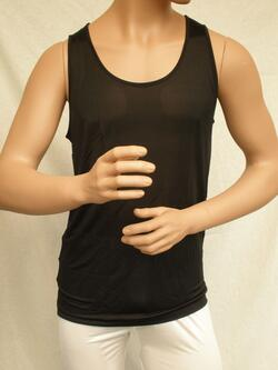 Silk tank top black