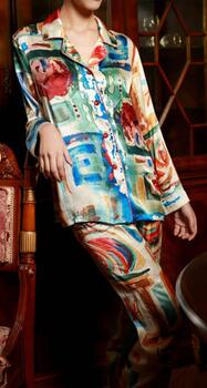 Silk pajamas printed 100% silk 19momme