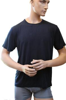 Silk tshirt dark blue, 100% silk