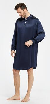 Silk Nightshirt Men, 19momme silk, 100% silk