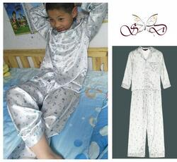 Silk pajamas azure blue balloon print for children 100% silk