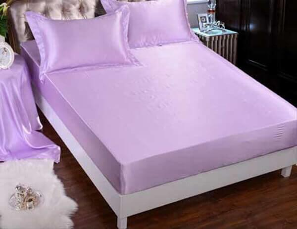 Silk bedding light purple 100% silk 19momme