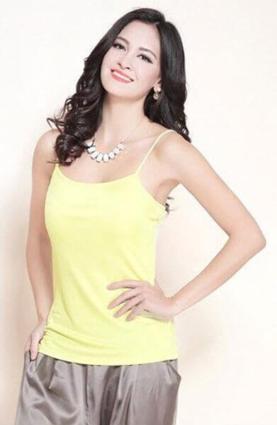 Silk camisole yellow, 100% silk