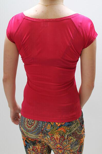 Silk tshirt red with lace