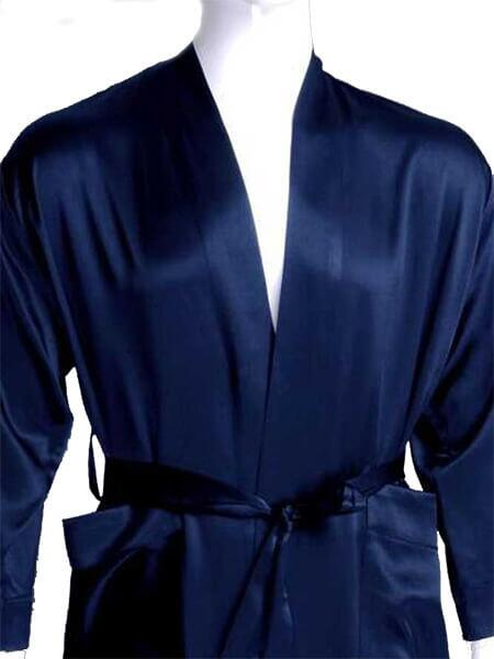 Silk Robe Classic, blue 100% silk 19momme