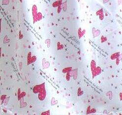 Silk nightgown girl with hearts 100% silk
