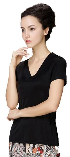 Silk T Shirt V Neck black 100% silk