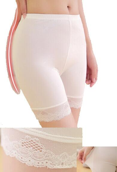 Silk panties long leg white