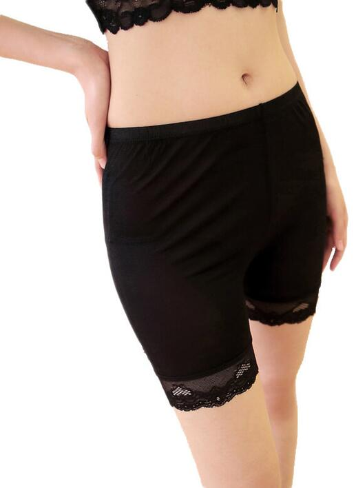 Silk panties long leg black