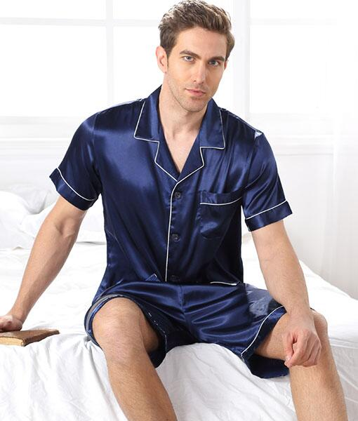 Silk pajamas short sleeve 100% silk Blue