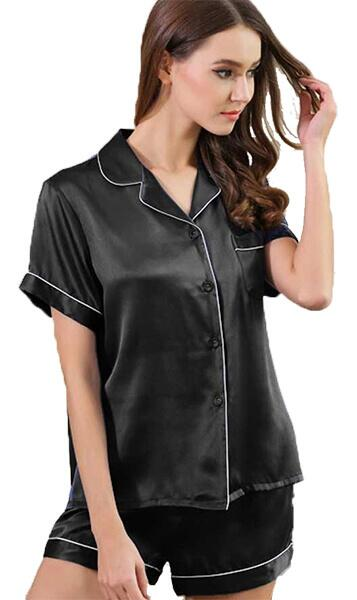 Silk Pajamas women short sleeve 100% silk