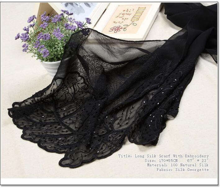 Silk scarf with embroidery black 100% silk