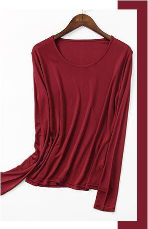 SilkBlouse 100% Silk Dark Red