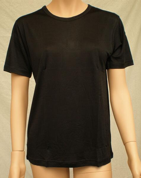Silk tshirt women, black 100% silk