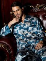 Silk mens pajamas - print