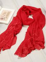 Silk scarf with embroidery red